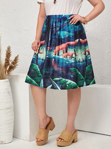 Plus Fox & Plants Print Skirt