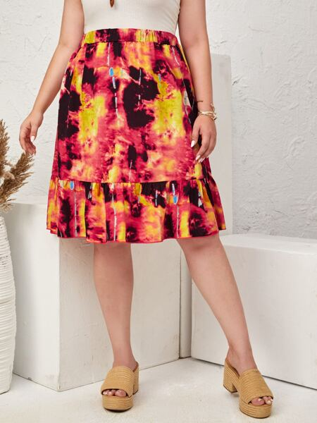 Plus Tie Dye Ruffle Hem Skirt