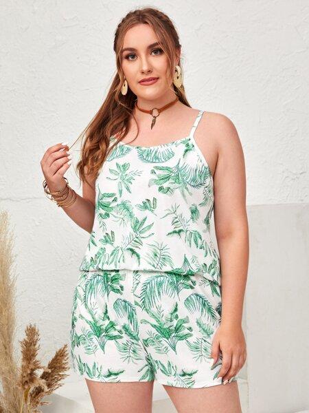 Plus Tropical Print Cami Top & Shorts