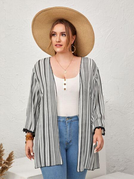 Plus Striped Open Front Kimono