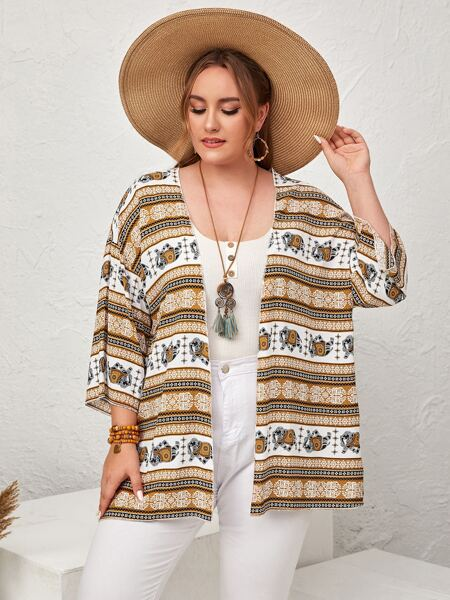Plus Elephant & Paisley Print Kimono