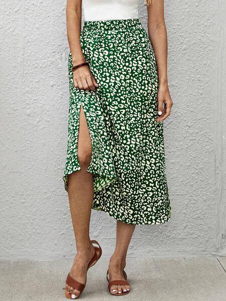 Allover Print Split Hem Skirt
