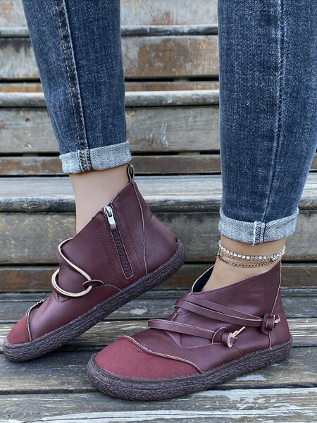 Knot Decor Slide Zipper Ankle Boots