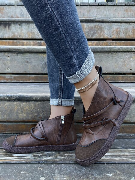 Knot Decor Ankle Boots