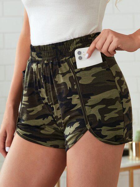 Camo Print Shorts With Phone Pocket
