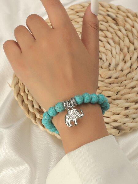 Animal Charm Turquoise Beaded Bracelet