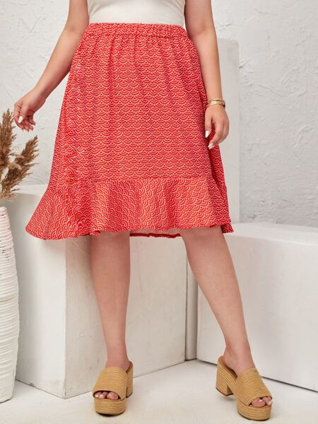 Plus Allover Print Ruffle Hem A Line Skirt