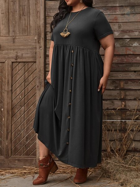Plus Solid Button Front Smock Dress