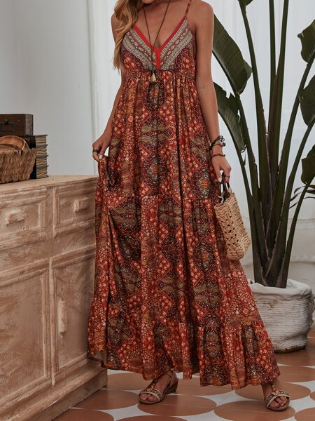 Floral Ruffle Hem Maxi Cami Dress