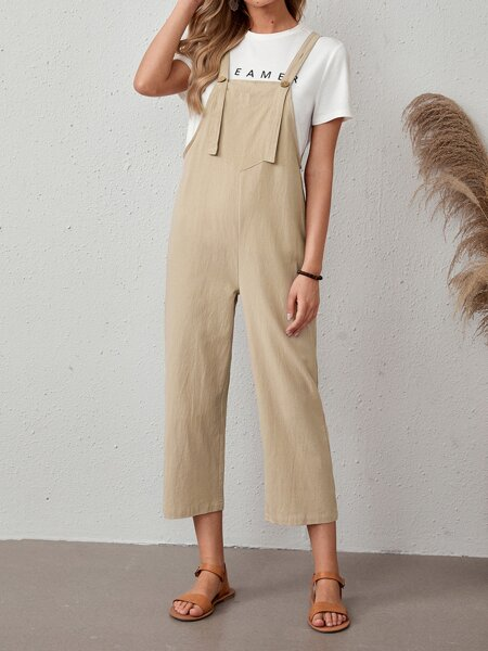Solid Button Detail Overall Jumpsuit
