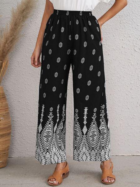 Graphic Print Wide Leg Pants