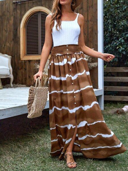 Shirred Waist Tie Dye Skirt