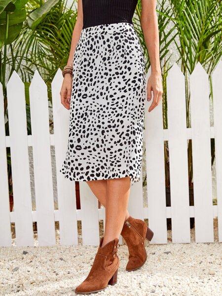 Dalmatian Print Straight Skirt