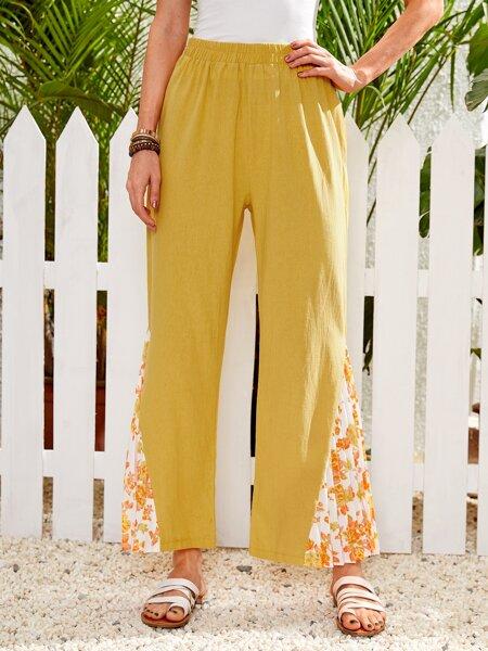 Contrast Floral Print Wide Leg Pants