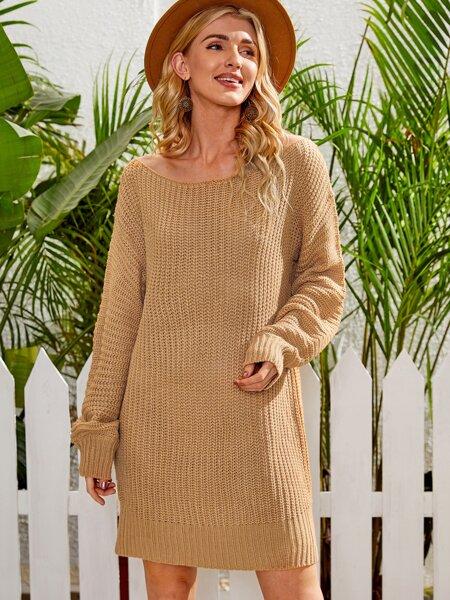 Ribbed Knit Drop Shoulder Sweater Dress