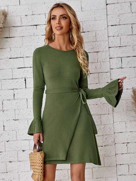 Flounce Sleeve Knot Side Cut Out Back Sweater Dress