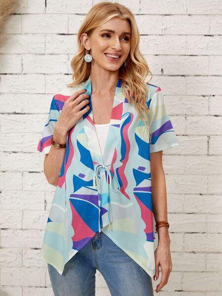Color Block Tie Front Kimono