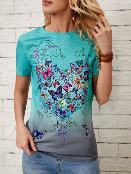 Butterfly Print Ombre Tee