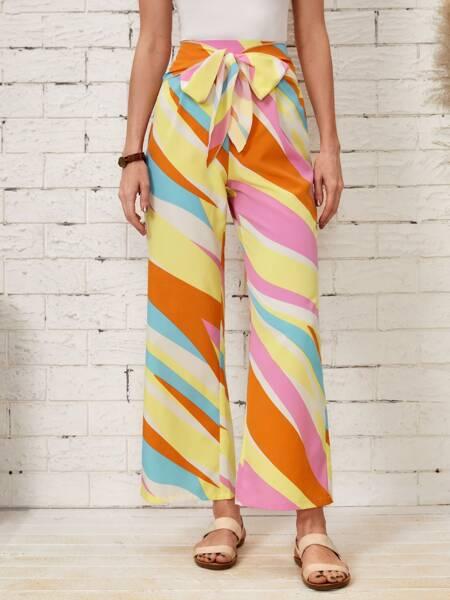 Color-block Tie Front Wide Leg Pants