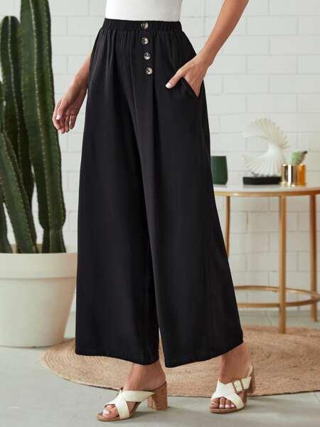 Single Breasted Side Wide Leg Pants