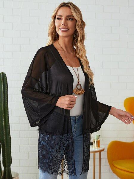 Drop Shoulder Lace Hem Sheer Kimono