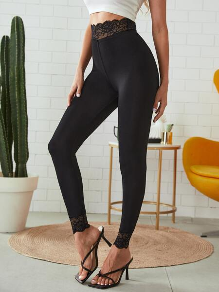 Solid Contrast Lace Leggings