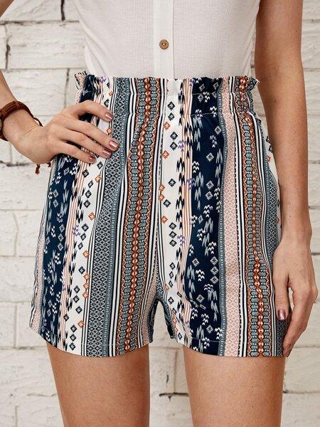 Paperbag Waist Geo & Striped Print Shorts