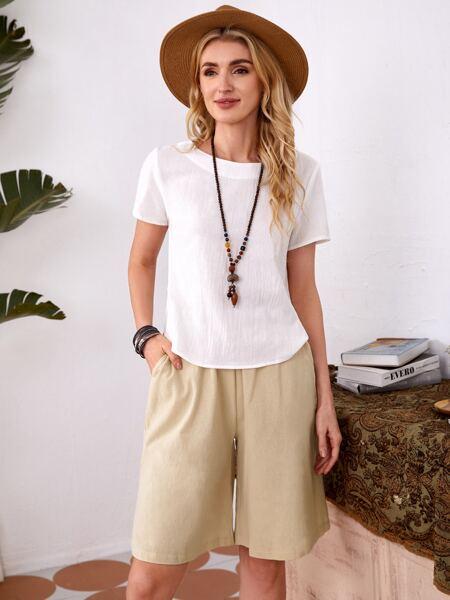 Solid Top & Slant Pocket Shorts