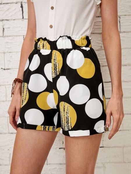 Graphic Print Paper Bag Waist Straight Leg Shorts