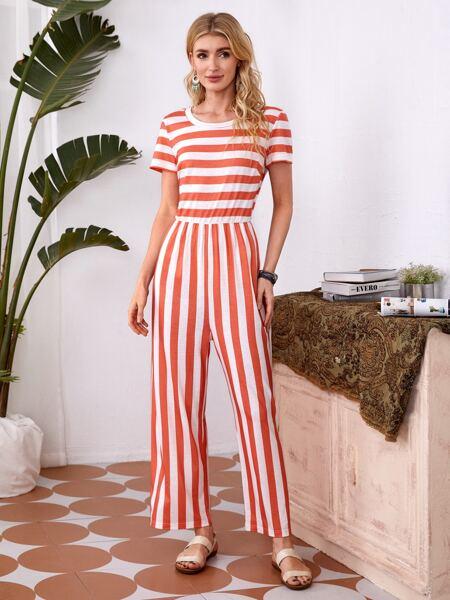 Stripe Wide Leg Jumpsuit