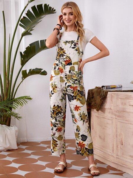 Plants Print Dual Pocket Suspender Jumpsuit Without Tee