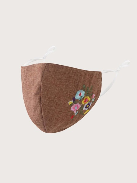 Flower Embroidered Face Mask