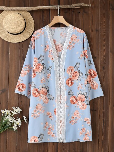 Plus Floral Print Lace Trim Kimono