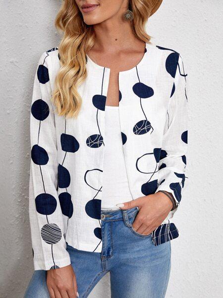Polka Dot Open Front Jacket