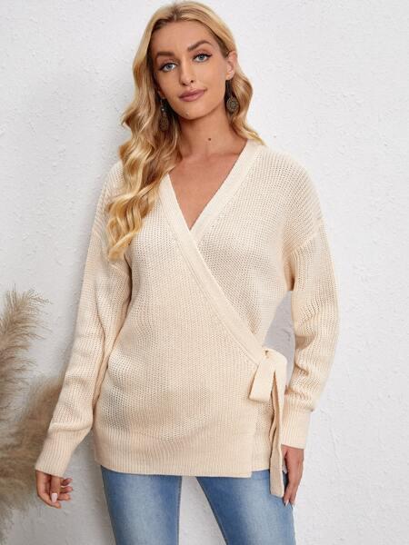 Wrap Knot Side Drop Shoulder Sweater