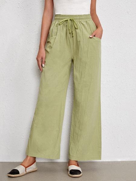 Drawstring Waist Slant Pocket Wide Leg Pants