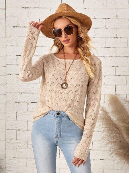 Pointelle Knit Boat Neck Sweater