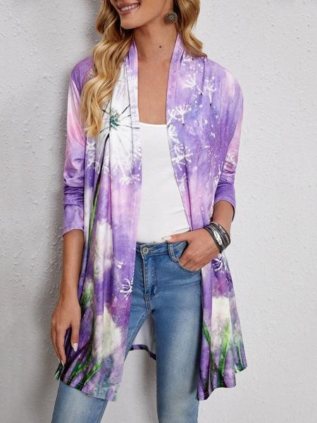 Dandelion Print Open Front Coat