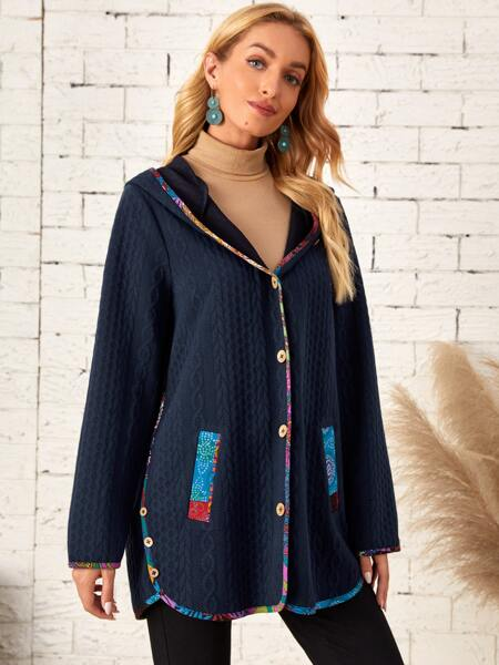 Contrast Binding Hooded Button Front Coat
