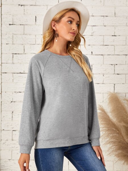 Raglan Sleeve Solid Pullover