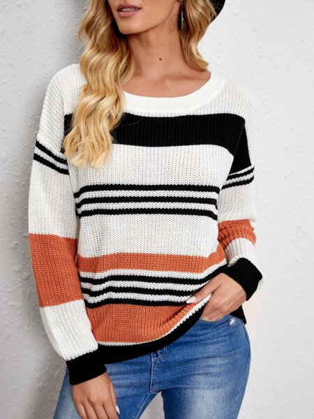 Striped Drop Shoulder Ribbed Knit Sweater
