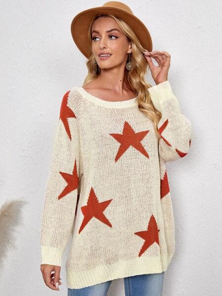 Star Pattern Raglan Sleeve Sweater