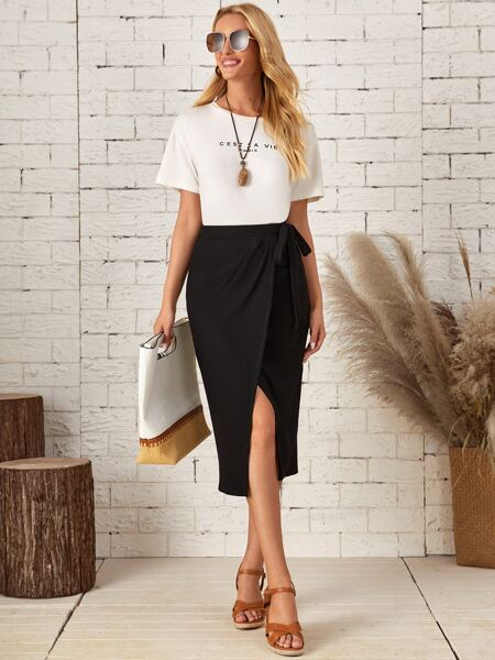 Ribbed Tie Side Wrap Skirt