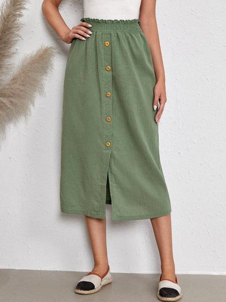 Paper Bag Waist Button Front Split Hem Skirt