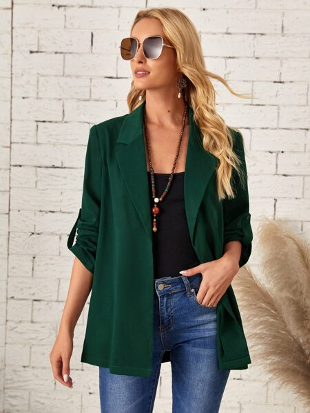 Solid Roll Up Sleeve Coat