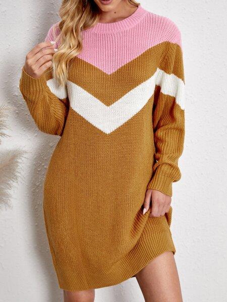 Colorblock Chevron Pattern Sweater Dress