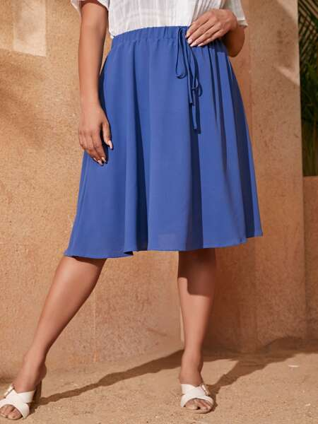 Plus Knot Front Flare Skirt