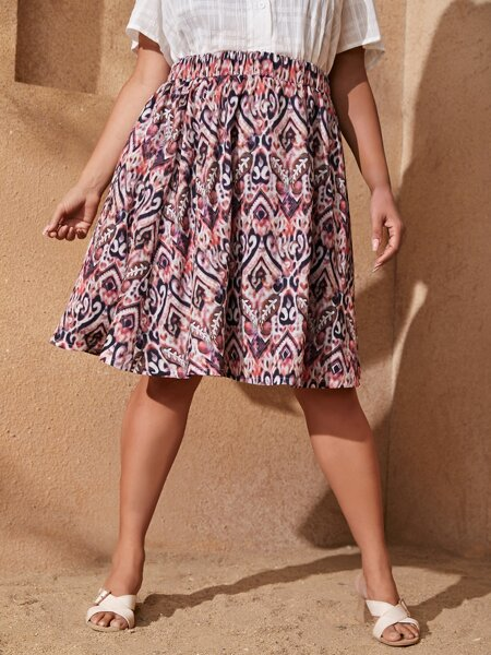 Plus Allover Print Elastic Waist Flare Skirt