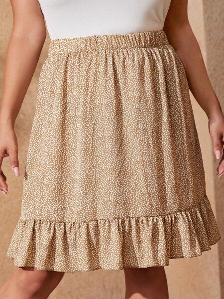 Plus Dalmatian Print Ruffle Hem Skirt