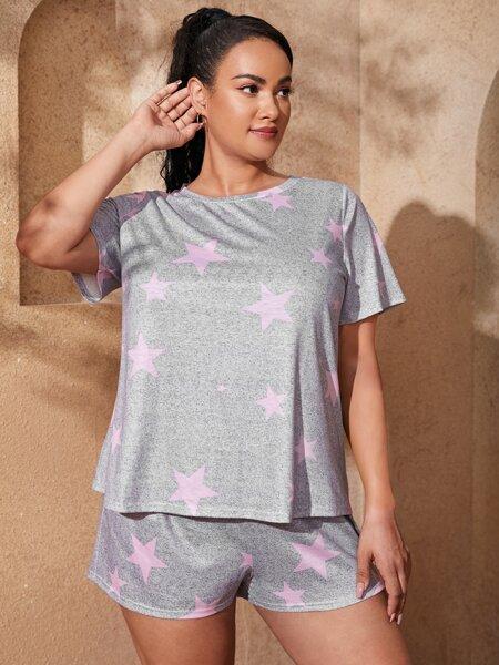 Plus Star Print Tee & Track Shorts